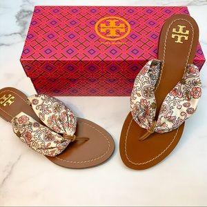 TORY BURCH Carson Flat Satin Thong Sandal Size 6.5